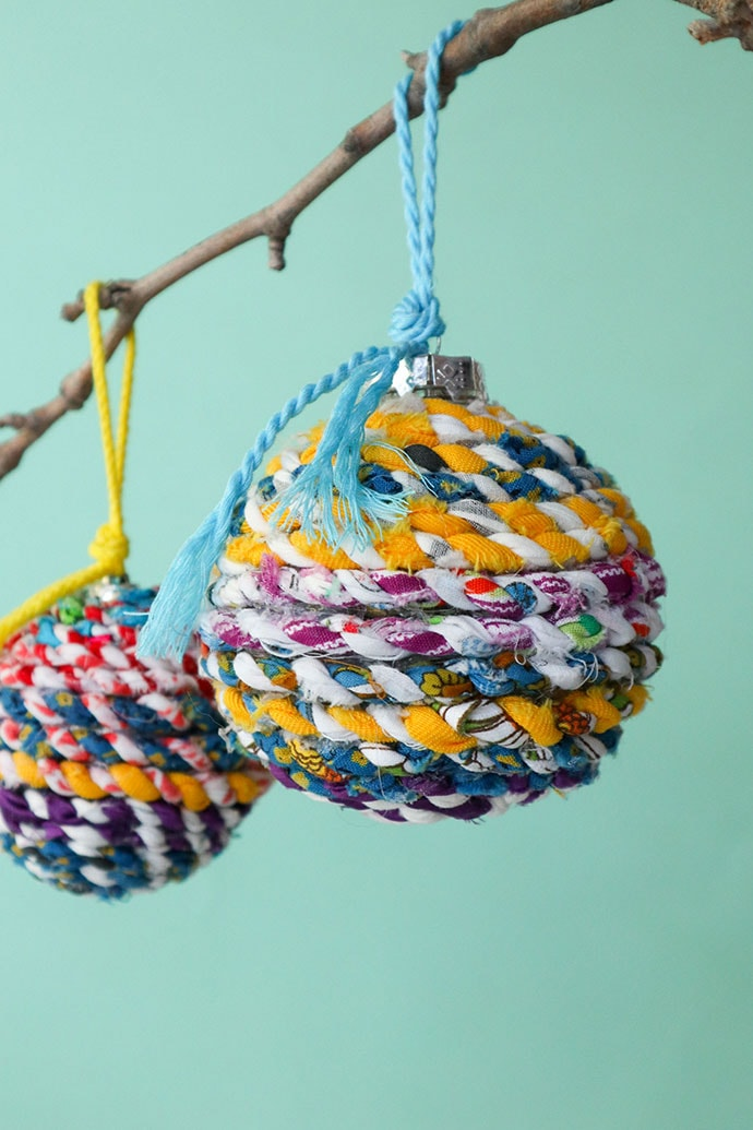 Scrap fabric Twine Christmas Baubles - mypoppet.com.au