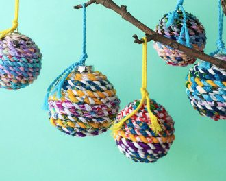 Scrap fabric twine christmas bauble - mypoppet.com.au