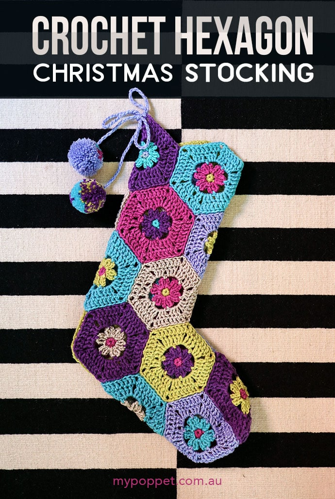 Hexagon crochet christmas stocking - mypoppet.com.au