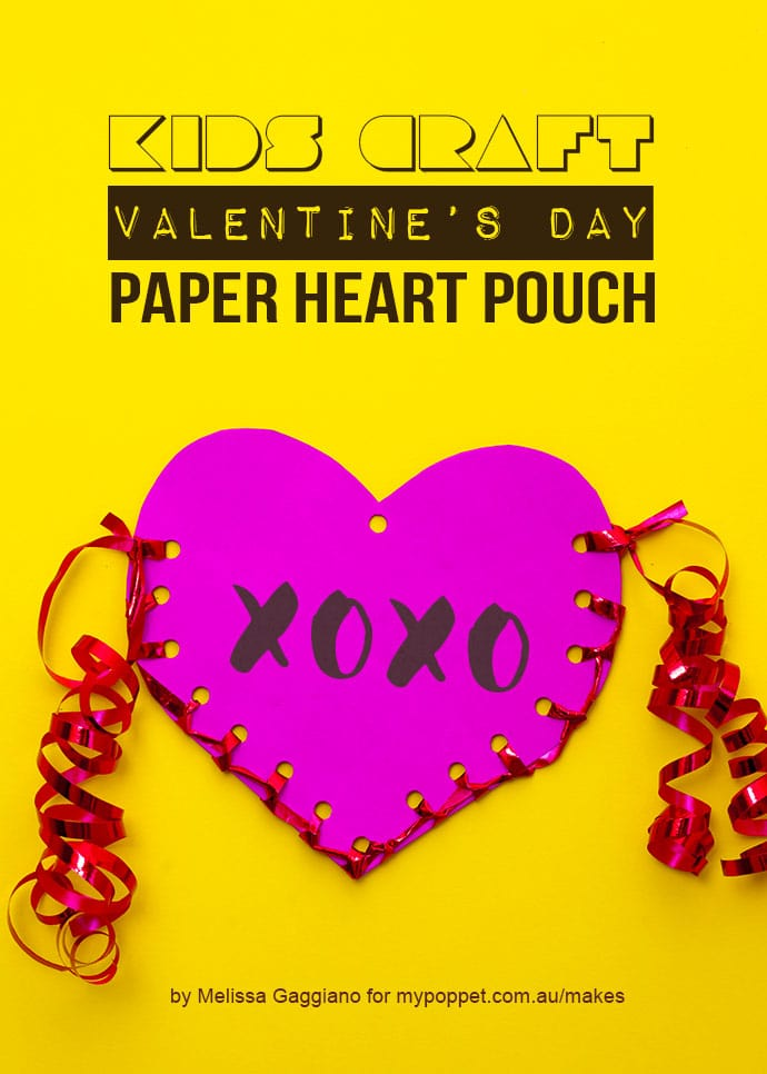 Paper craft Valentines day heart pouch - mypoppet.com.au