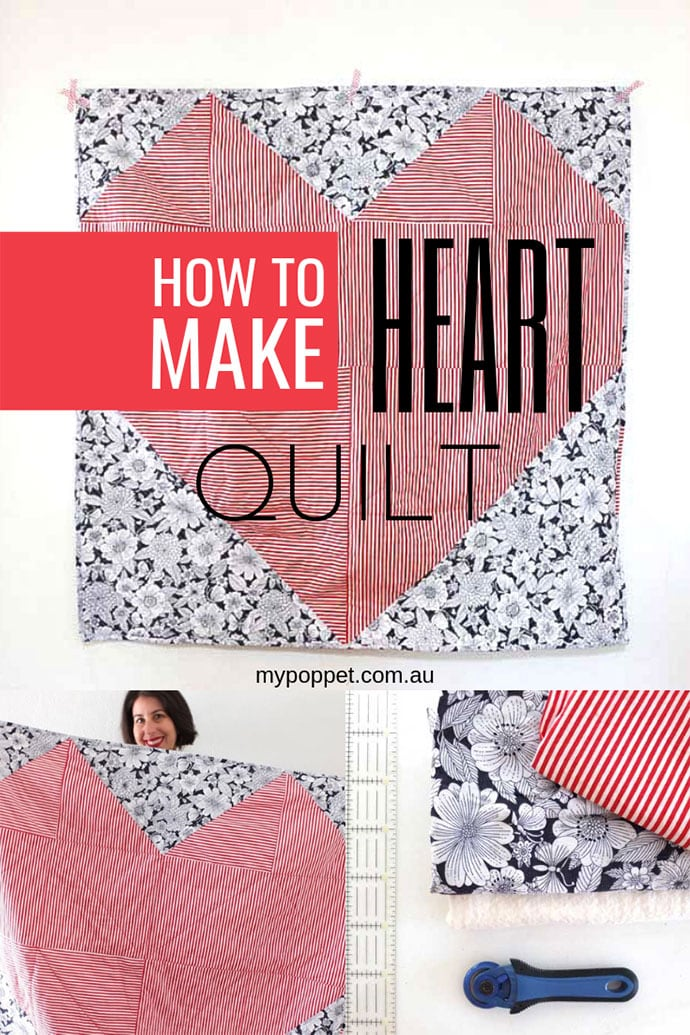 Make a Geometric Heart Quilt Pattern mypoppet.com.au