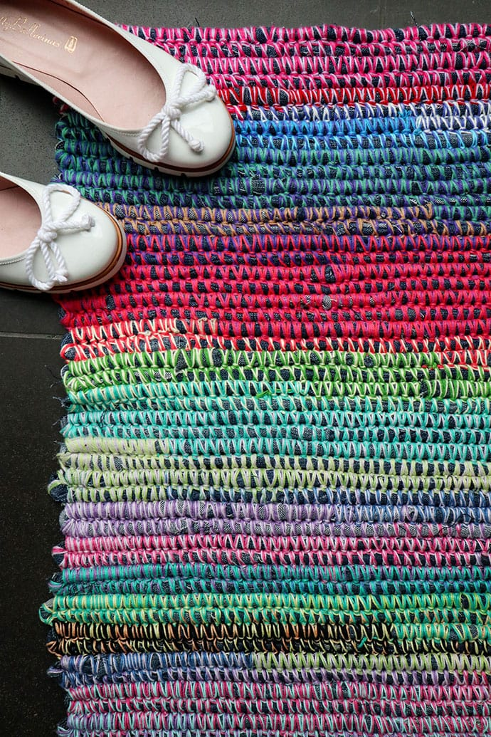 Scrap denim rainbow rag rug - mypoppet.com.au