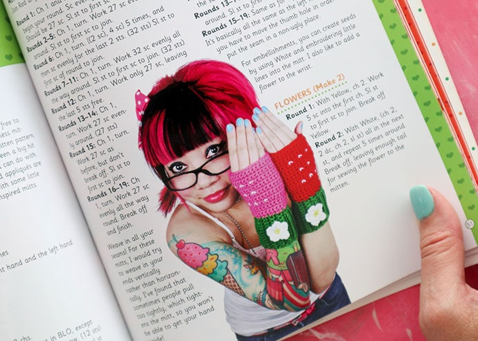 Strawberry gloves - Book Review - Twinkie Chan's Crochet Goodies for fashion foodies craft book - mypoppet.com.au