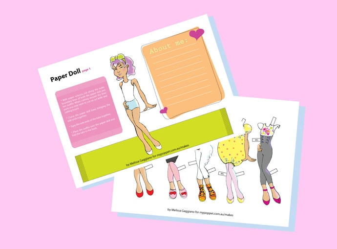 Print and Cut Paper Doll - mypoppet.com.au