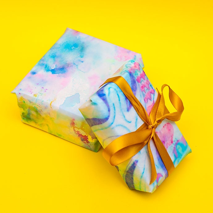 water colour gift wrapping - mypoppet.com.au