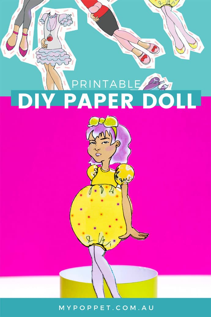 Printable DIY paper doll with outfits - mypoppet.com.au