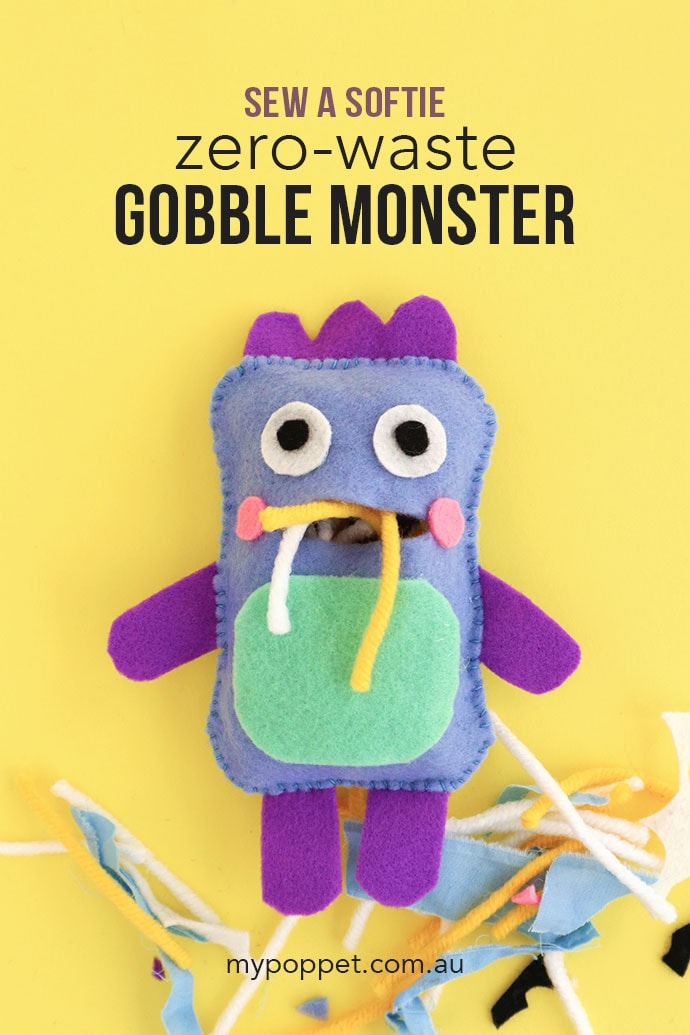 Sew a soft toy pattern Zero-Waste Gobble Monster- mypoppet.com.au
