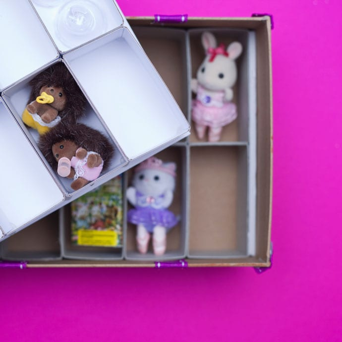 DIY small toy storage box - Make shelves inside a shoe box - mypoppet.com.au