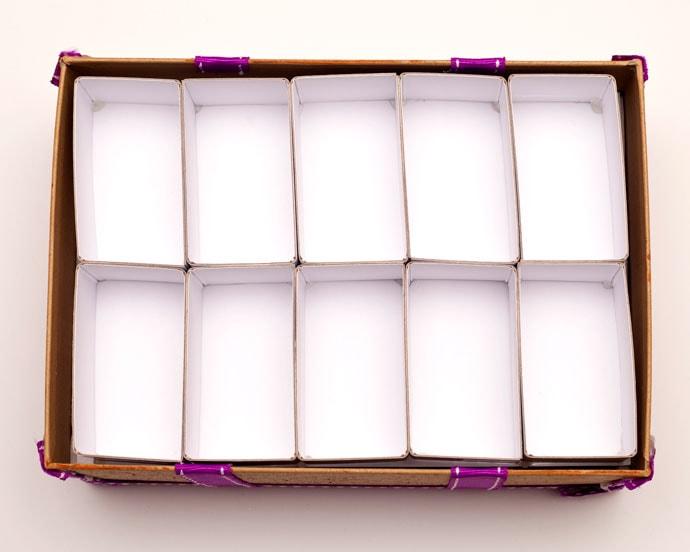 Make shelves inside a shoe box - mypoppet.com.au