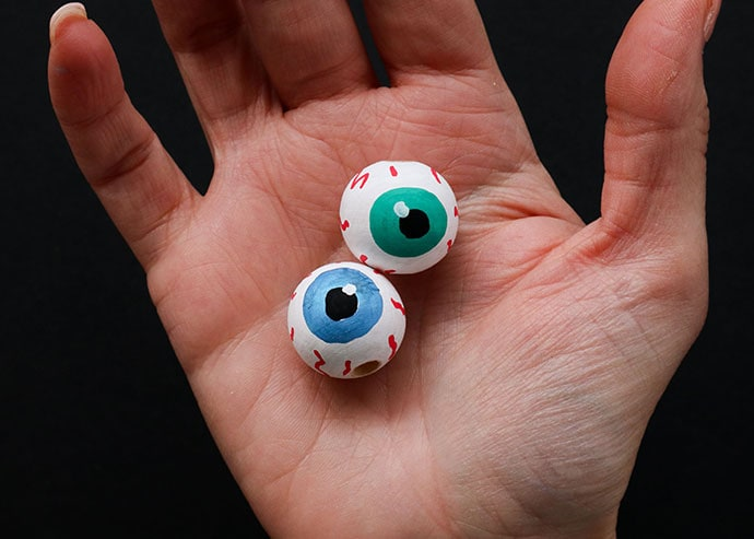 wooden bead eyeball keychain - mypoppet.com.au