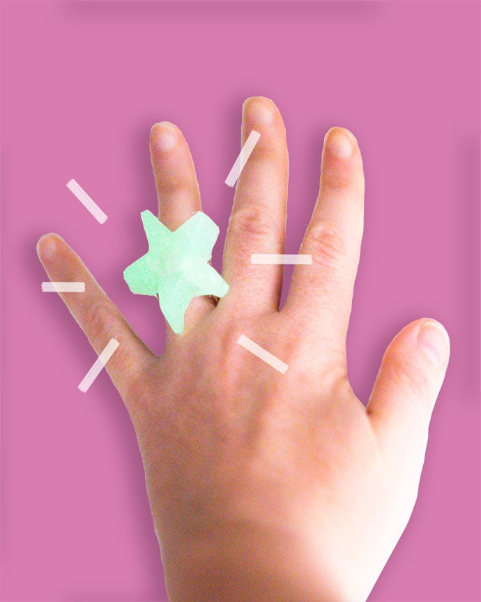 Make a glow in the dark ring with hot glue