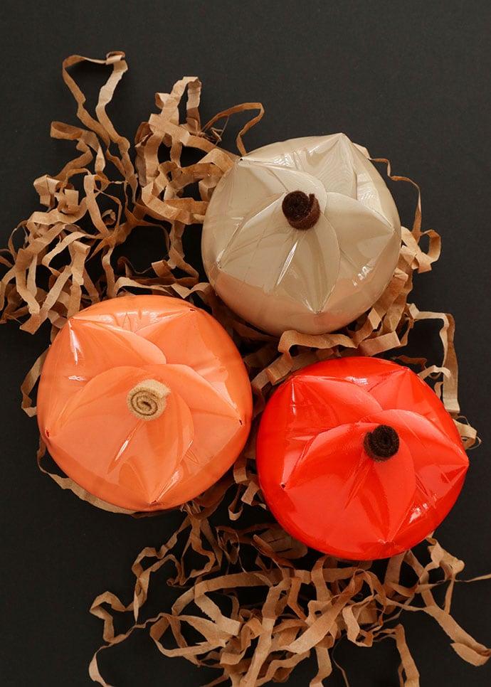 recycled Plastic bottle pumpkin craft