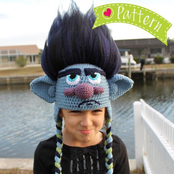 Trolls Movie Branch Crochet Hat Pattern