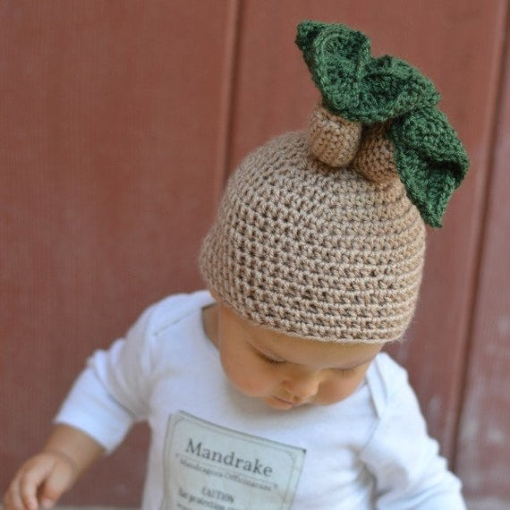 Harry Potter Baby Mandrake Crochet Hat Pattern