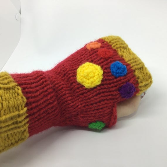 Iron Man Infinity Gauntlets Fingerless Gloves Knitting Pattern for Beginners
