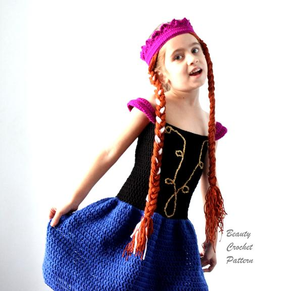 Anna from Frozen Dress and Wig Crochet Pattern
