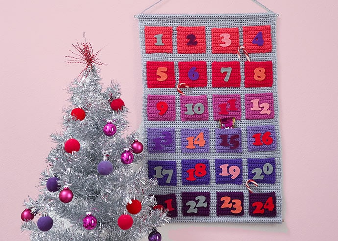 Crochet Advent calendar wall hanging pattern - mypoppet.com.au