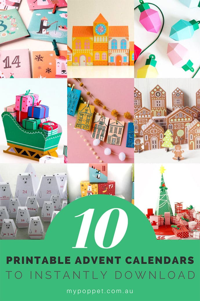 collection of printable advent calendars - mypoppet.com.au