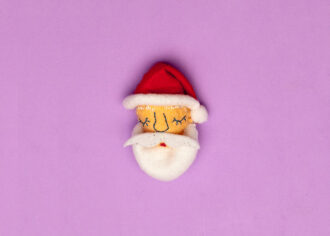 Handmade Christmas Brooch Sleepy Santa Face