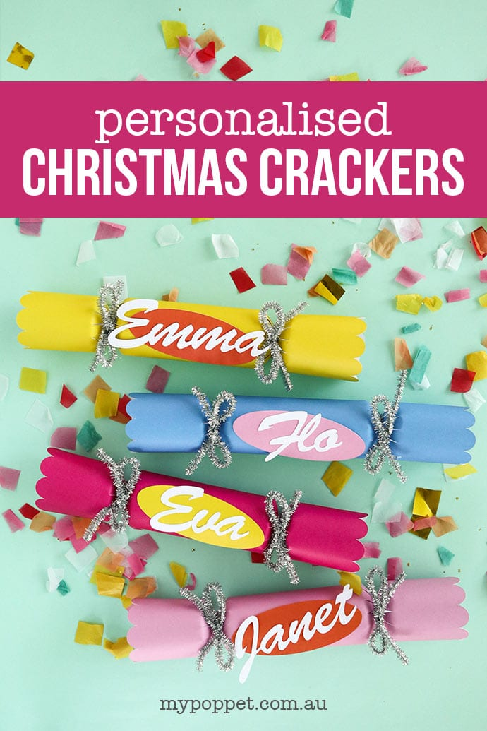 Colourful DIY Christmas Crackers on confetti background