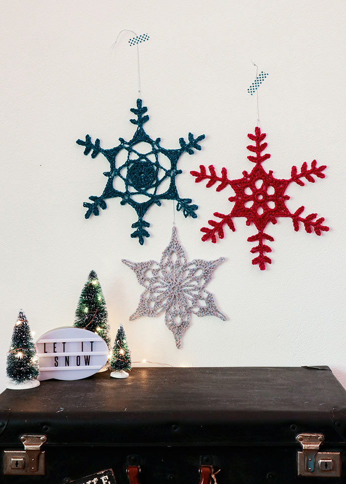 Crochet snowflake decorations
