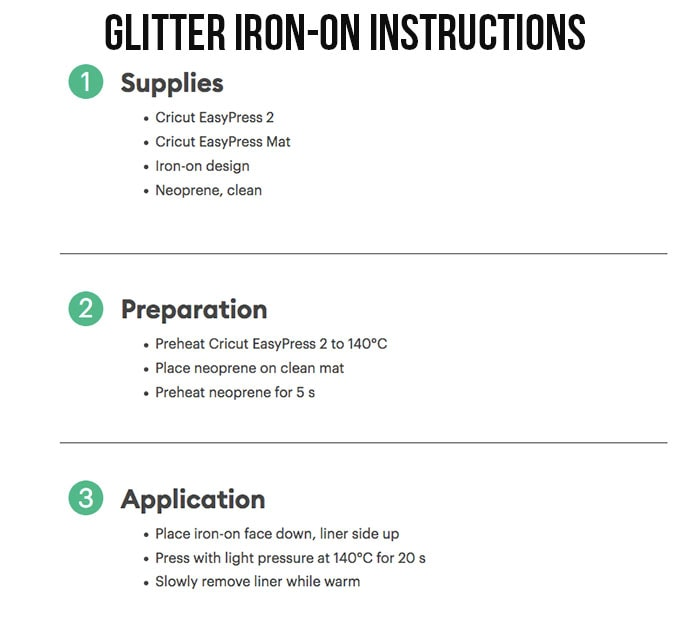 Cricut iron on heat guide