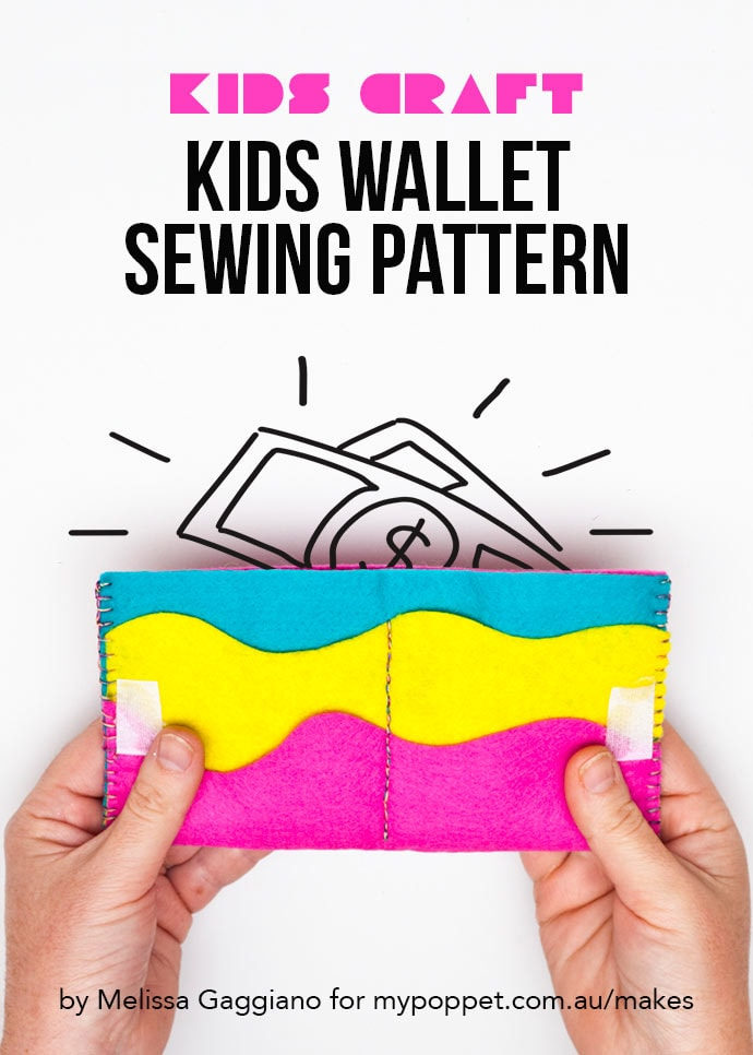 Kids wallet sewing pattern - Hands holding a rainbow felt wallet