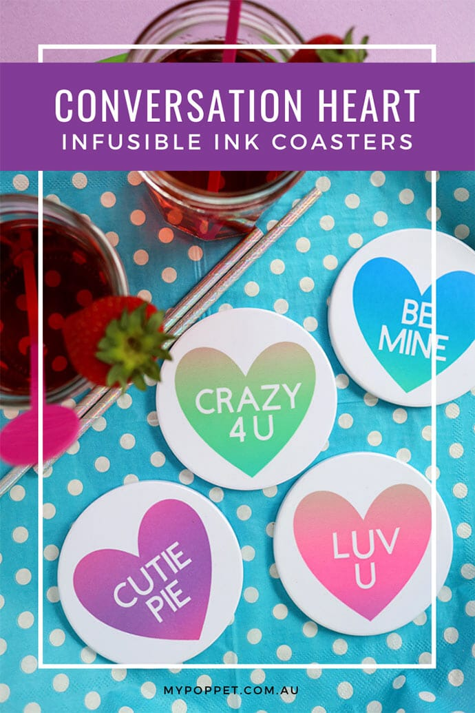 valentine infusible ink coasters