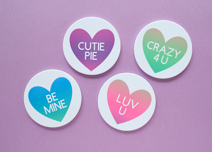 Conversation heart ceramic coasters