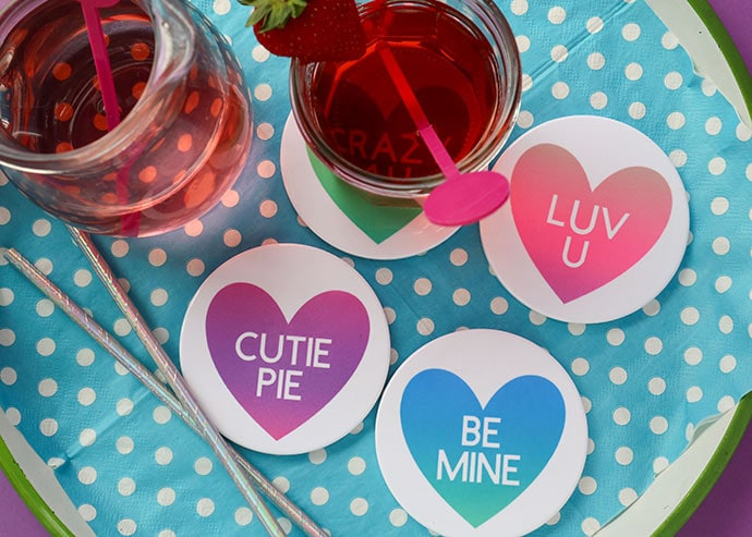 Cricut Infusible ink coasters Valentines day craft project
