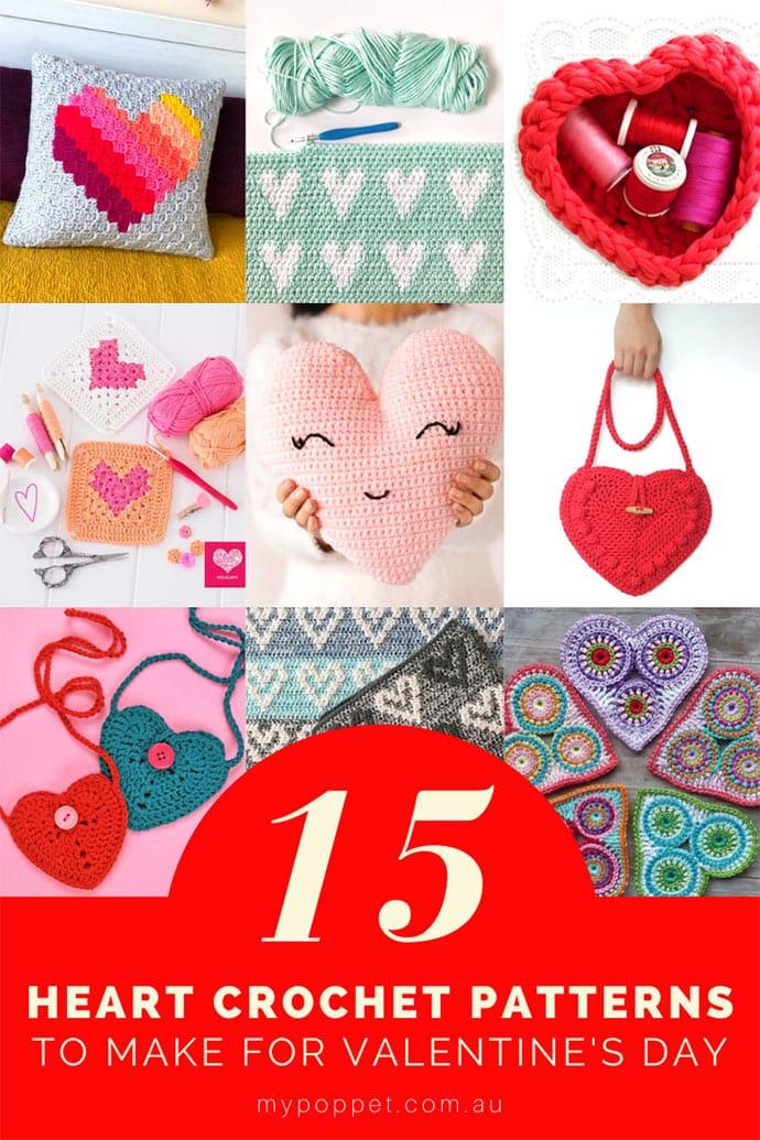 Crochet heart patterns roundup