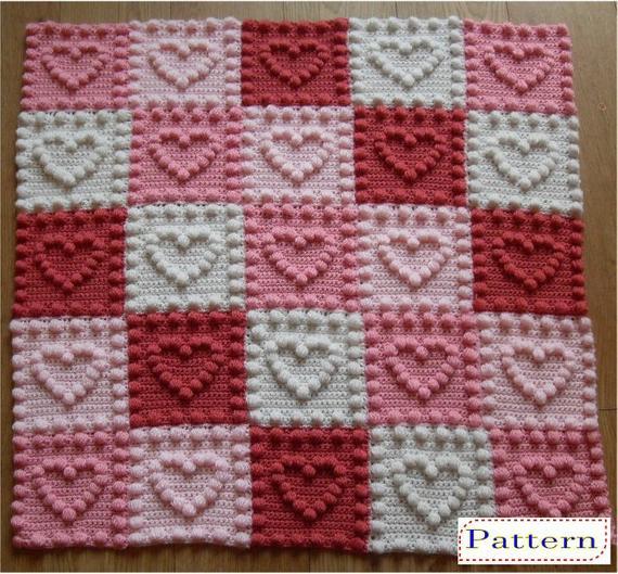 Heart Pattern Puff Stitch Baby Blanket