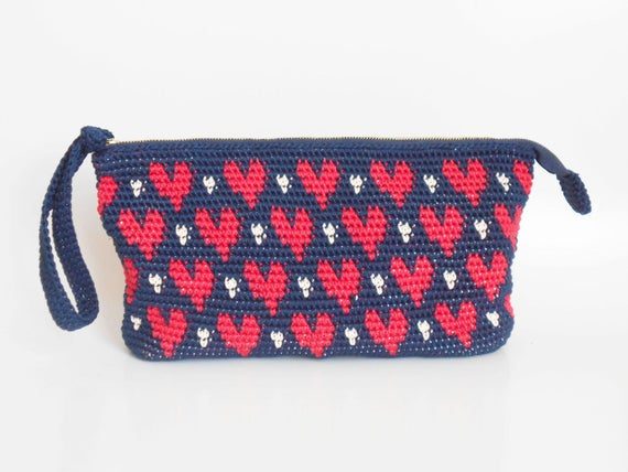 Hearts Clutch Tapestry Crochet Pattern