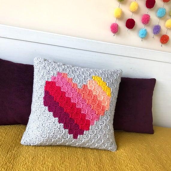 Love Heart c2c Cushion Crochet Pattern
