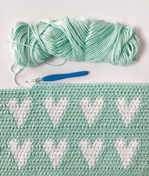 Crochet Modern Hearts Baby Blanket Pattern
