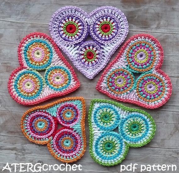 Circle Heart Motif Crochet Pattern