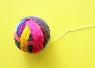 Magic Yarn Ball made from scrap yarn with invisible joins - mypoppet.com.au