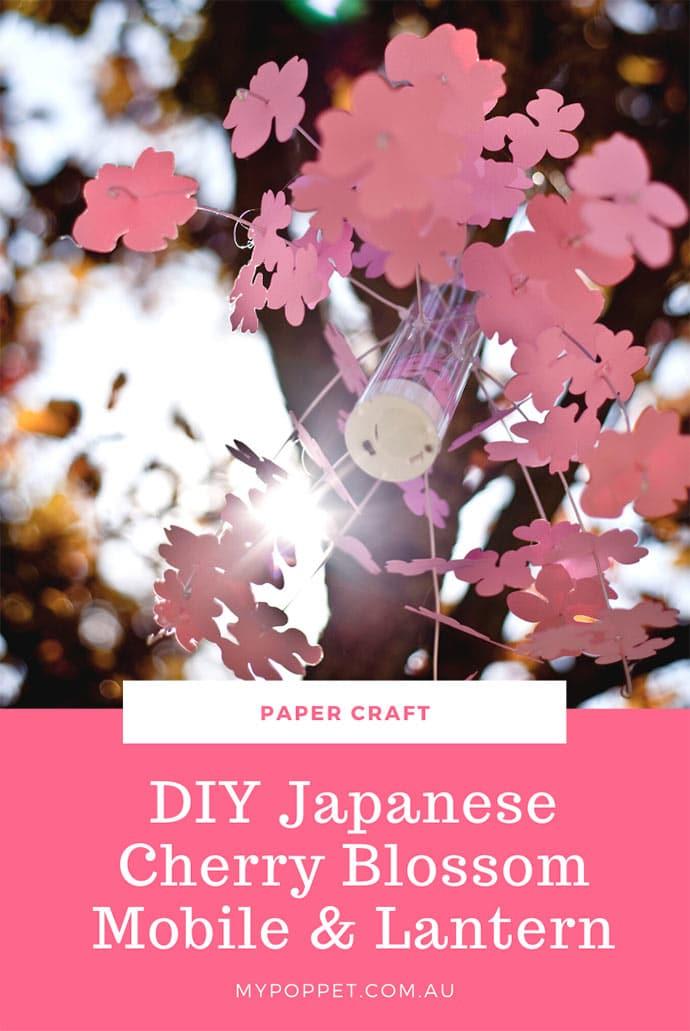 Paper cherry blossom mobile lantern