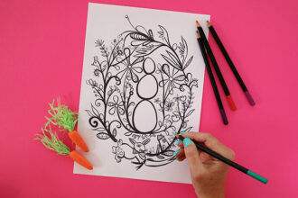 easter colouring page with pencils by Madeleline Stamer