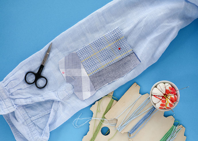 patching Worn out shirt sleeve
