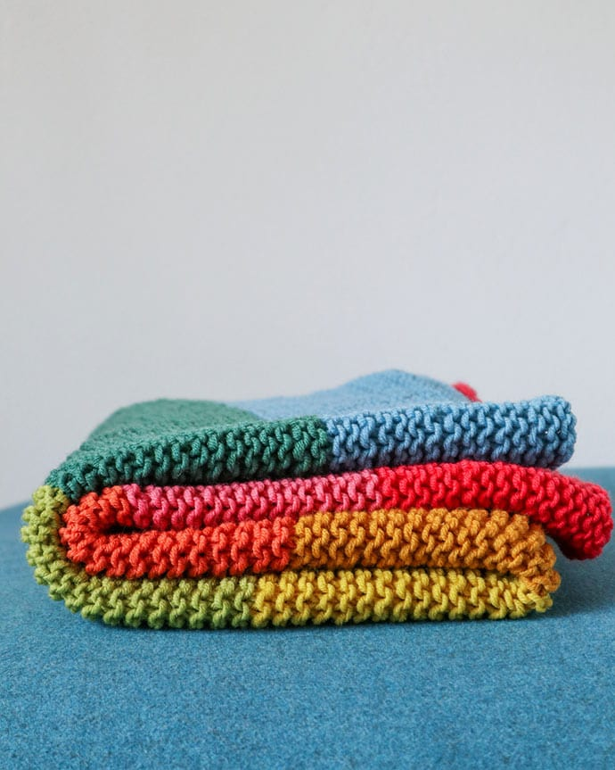 Folded rainbow baby blanket