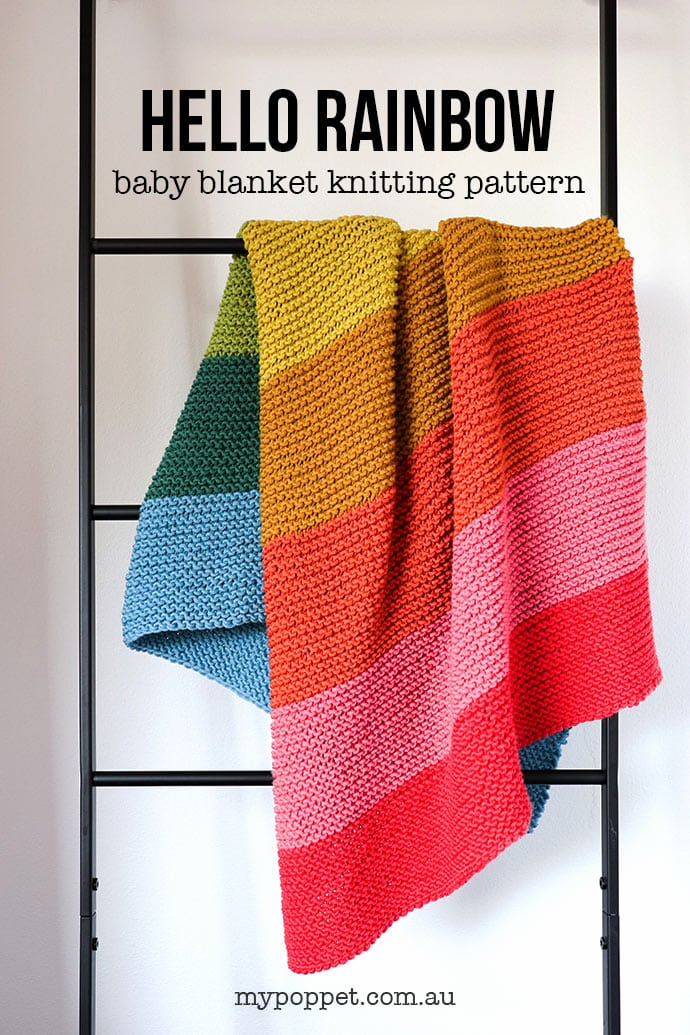Rainbow Baby Blanket Knitting Pattern My Poppet Makes