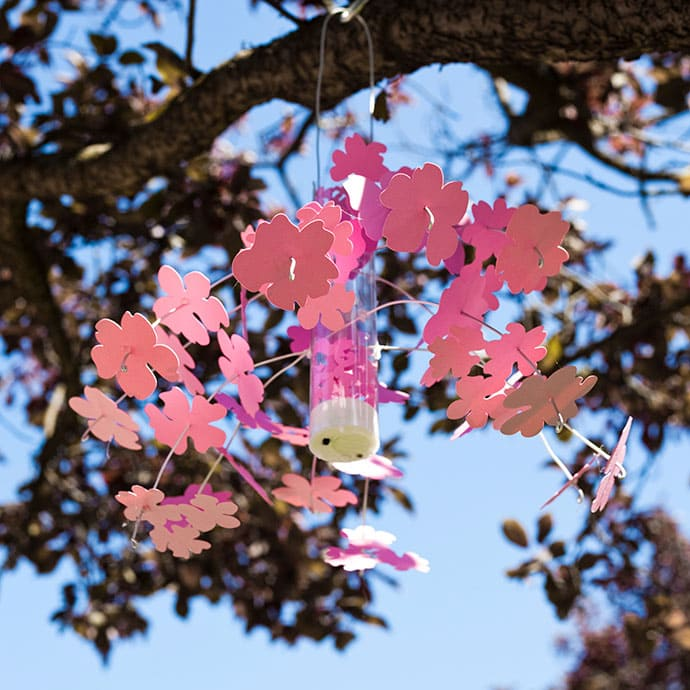 sakura flower mobile in tree