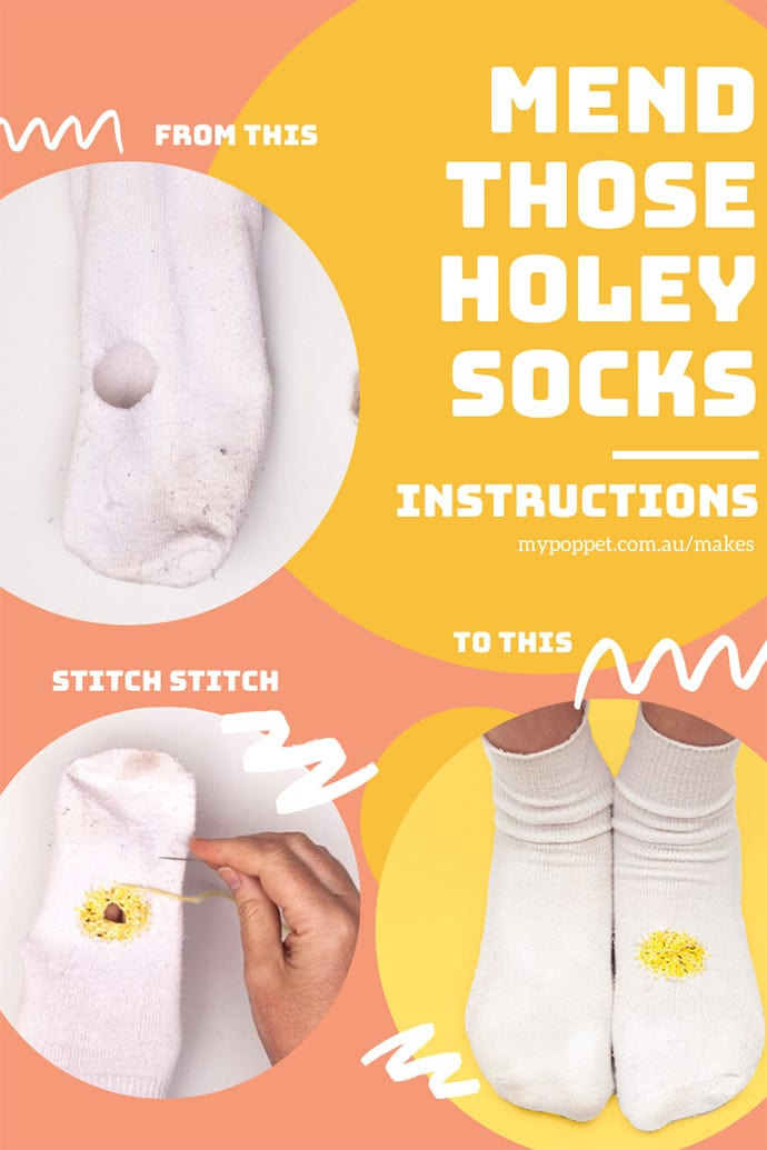 How to darn large holes in socks instructions