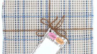 "Rug Canvas - 3.75 Mesh, 36"" x 44"", Blue Grid, 100% Cotton"