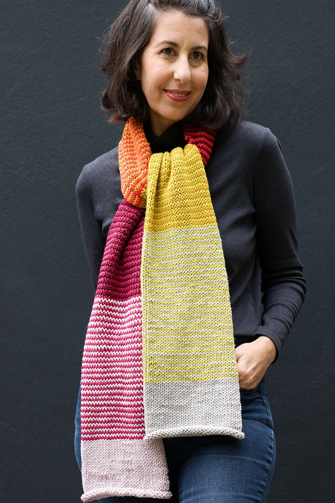 Free knitting pattern for striped scarf