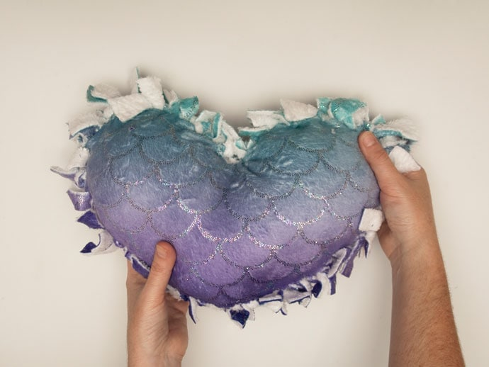 Finished no-sew heart pillow - mypoppet.com.au