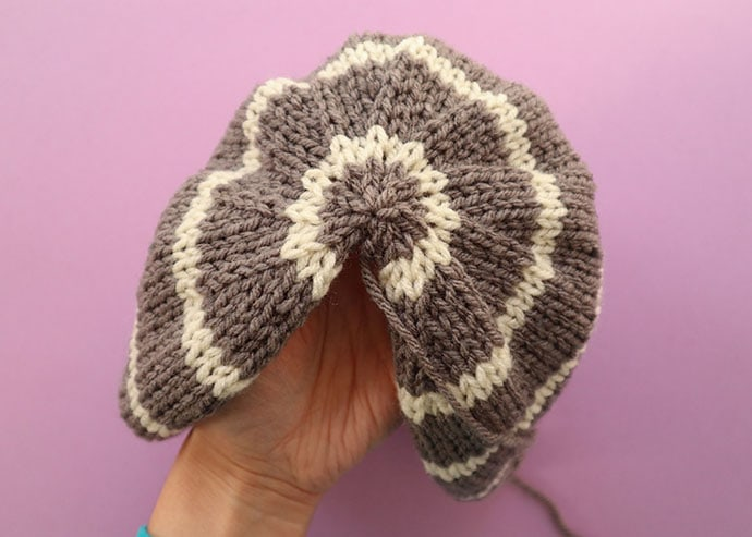 Grib beanie knitting pattern before seaming - mypoppet.com.au