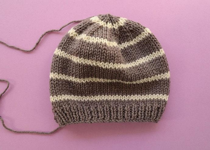 Grib beanie knitting pattern seamed - mypoppet.com.au