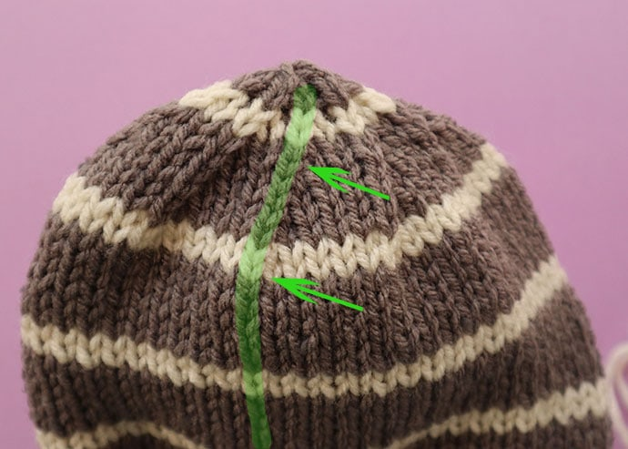 where to place vertical stripes on beanie